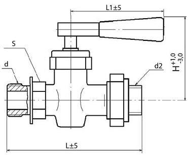 Кран пробно-спускной с прямым спуском и ниппелем 10Б19бк1 (ПЗ.37017)
