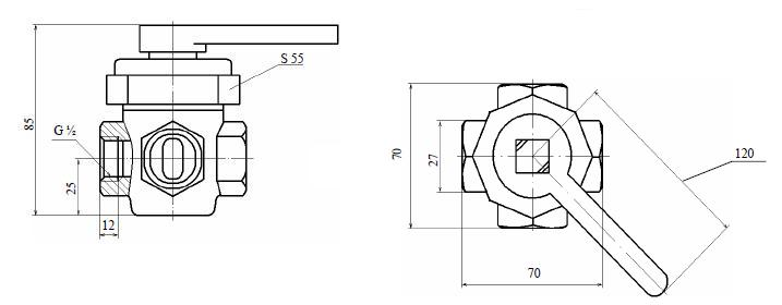 Кран четырехходовой 11Б23бк (ПЗ.39003-015)