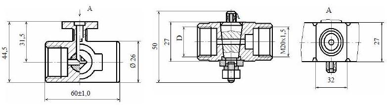 Кран трехходовый 11Б38бк, 11Б38бк1, 11Б38бк2, 11Б38бк3 (ВИЛН.491712.002)