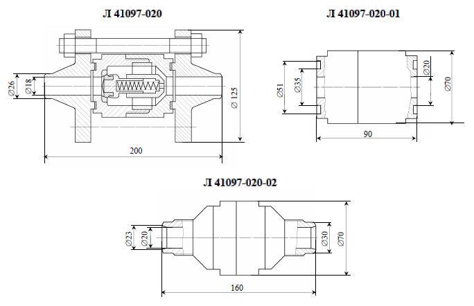 Клапан обратный 16с26п, 16с26п1, 16с26п2 (Л 41097-020)