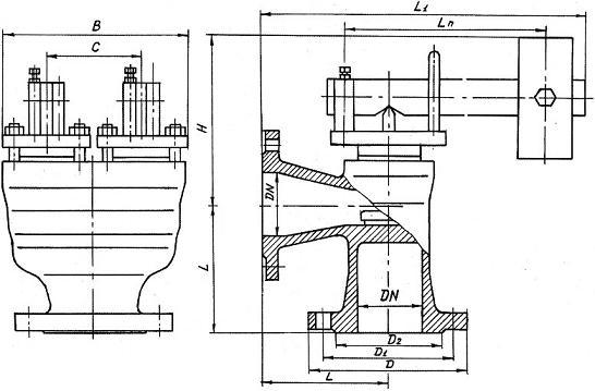 Клапан предохранительный 17ч19бр, 17ч19нж Ду80, Ду125, Ду150 Ру16
