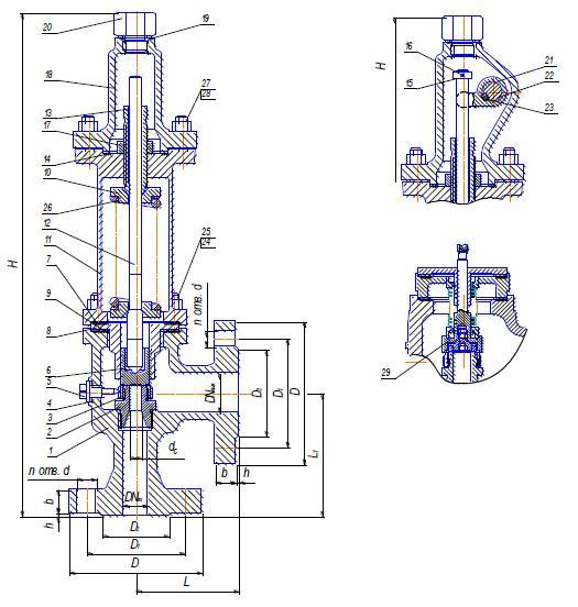 Клапан предохранительный 17с10нж, 17лс10нж, 17нж10нж, 17нж10нж1 (СППКР) Ду50-200 Ру16