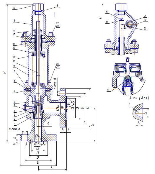Клапан предохранительный 17с15нж, 17лс15нж, 17нж15нж, 17нж15нж1 (СППК) Ду50-100 Ру63