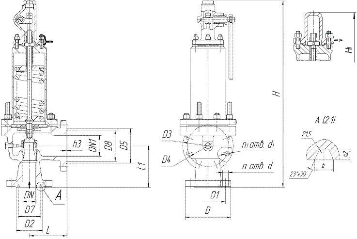 Клапан предохранительный 17с16нж, 17лс16нж, 17нж16нж Ду50, Ду100 Ру63