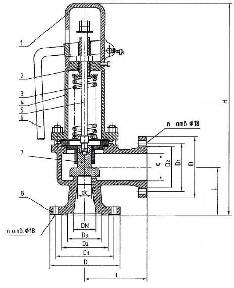 Клапан предохранительный 17с50нж Ду50 Ду80 Ру40