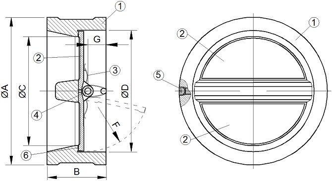Клапан (затвор) обратный межфланцевый чугунный двухстворчатый