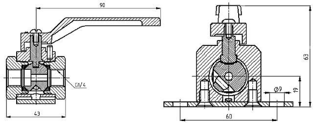 Кран шаровой КШ-6 ВИЛН.491812.014 Ду6 Ру16