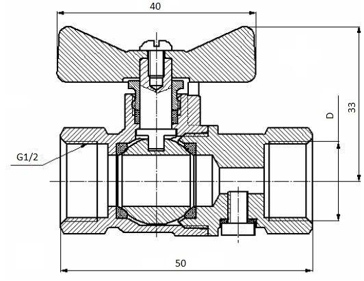 Кран шаровой для манометра 11Б41п18, 11Б41п21 (ВИЛН.491812.015)