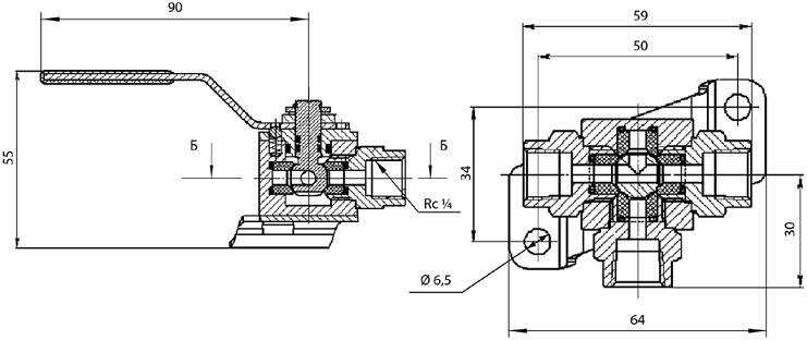 Кран шаровой трехходовой КШ-6 ВИЛН.494642.001 Ду6 Ру16