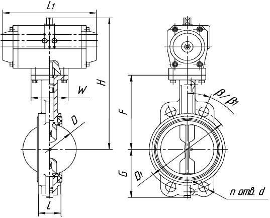 Затвор поворотный дисковый ЗПДП с пневмоприводом